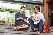 Business woman, business men talking on stairs,Kyoto,Japan