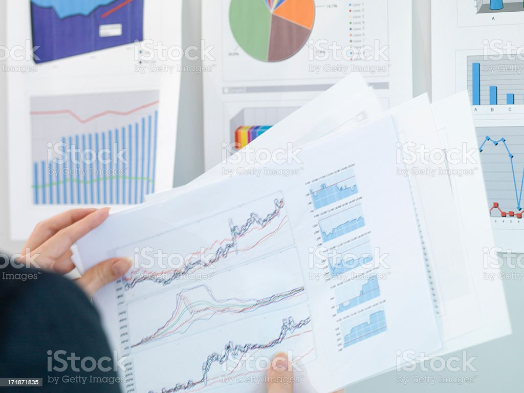 Business woman carry a document graph. royalty-free stock photo
