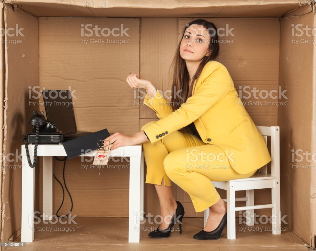 business woman caught for taking bribes, hand trapped stock photo