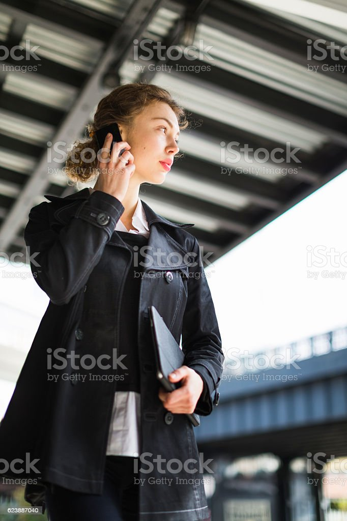 Business Woman chatting on phone stock photo