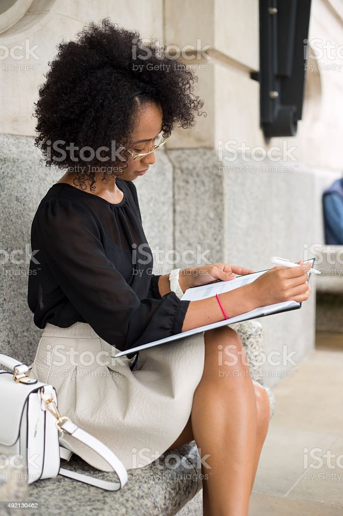 business woman checking diary royalty-free stock photo