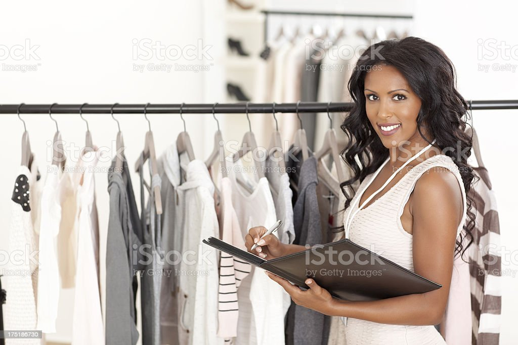 Business woman checking Inventory. royalty-free stock photo