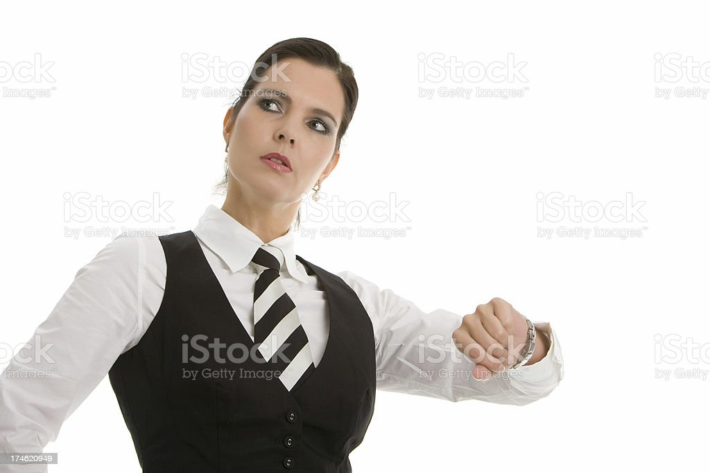 Business woman checking the time stock photo