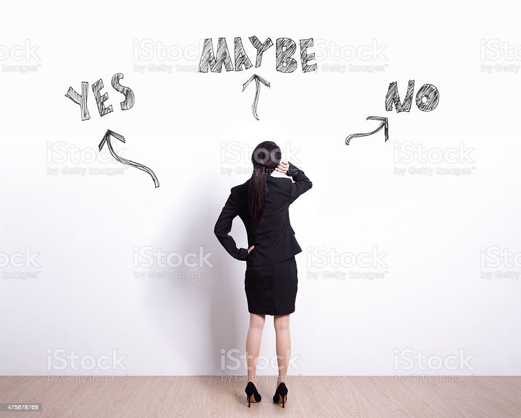 business woman choice stock photo