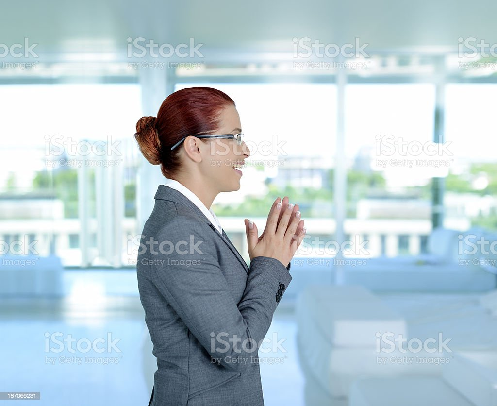 business woman clapping hands royalty-free stock photo