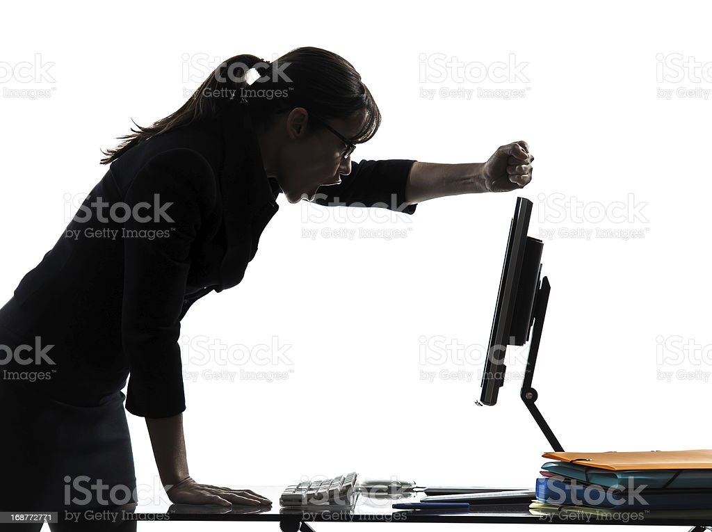 business woman computer failure breakdown silhouette royalty-free stock photo