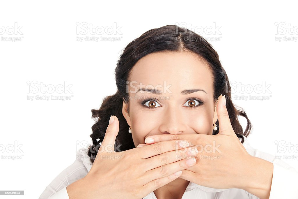 Business woman covering mouth, isolated stock photo