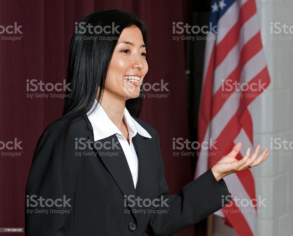 Business Woman Delivering Speech royalty-free stock photo