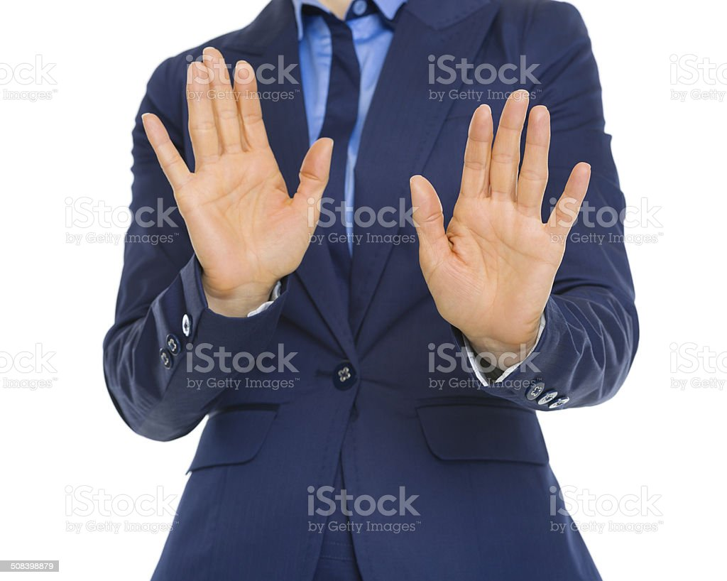 business woman denying stock photo