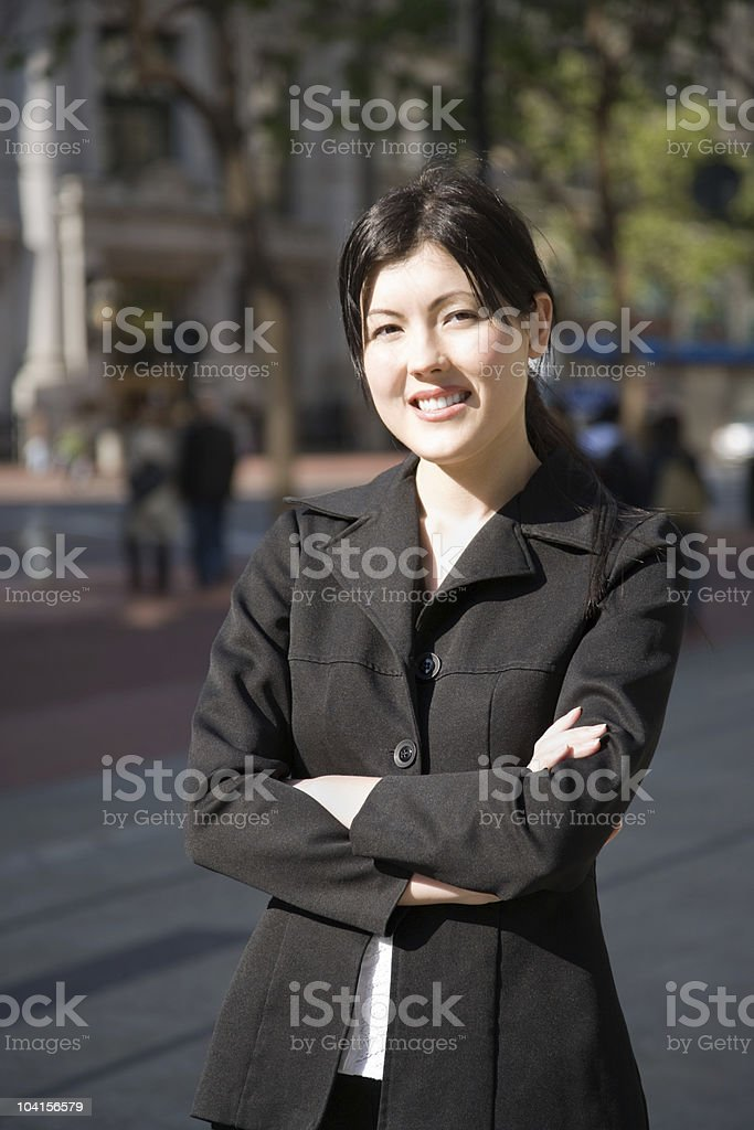 Business woman downtown stock photo