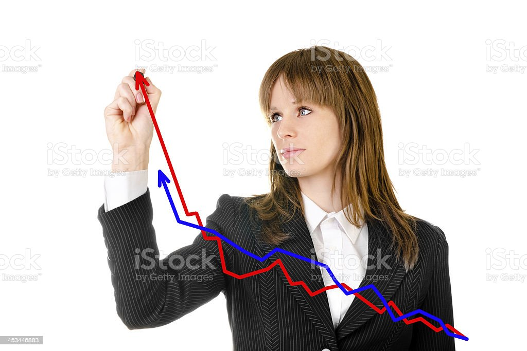 business woman drawing graph royalty-free stock photo