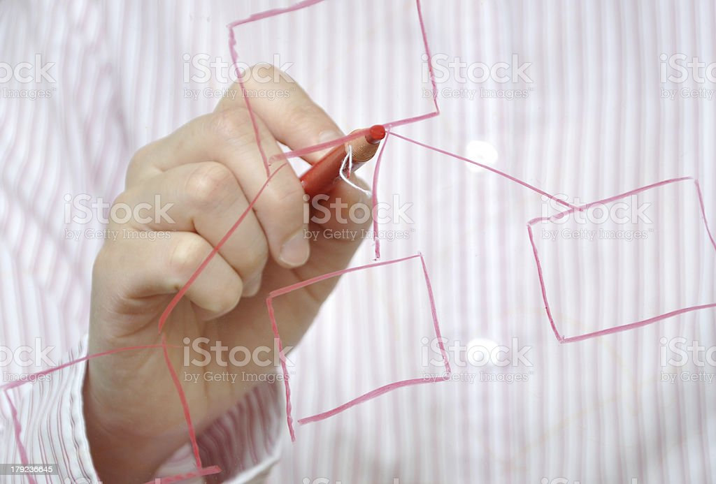 Business woman drawing organization chart with a pen royalty-free stock photo