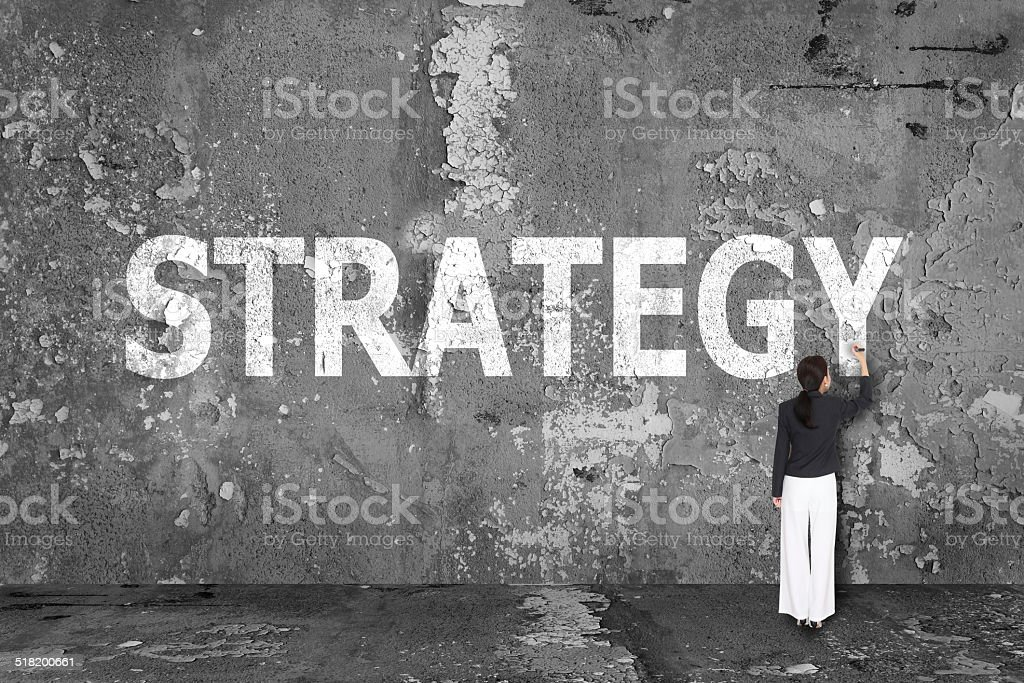 business woman drawing strategy on wall stock photo