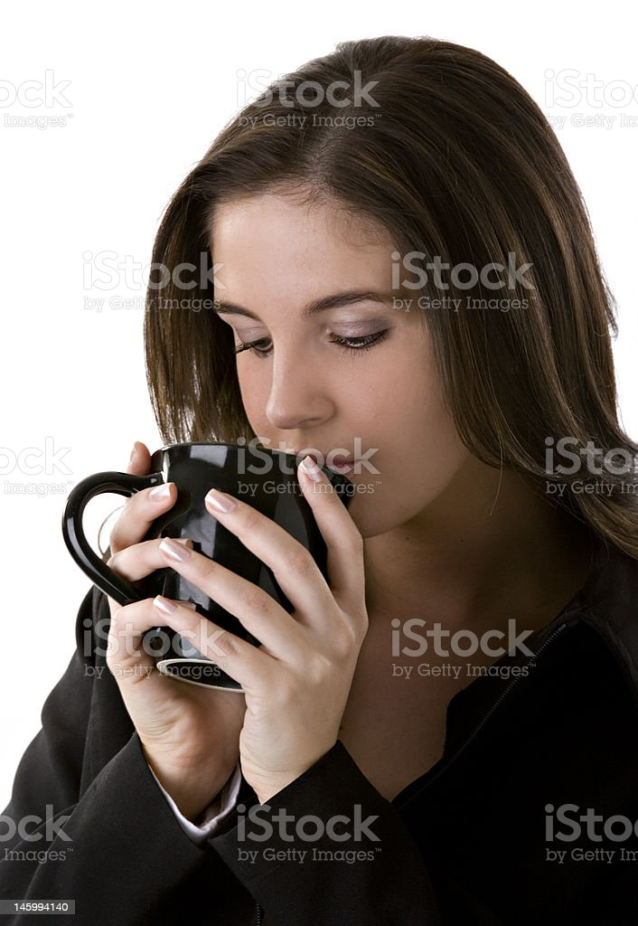 business woman drinking coffee royalty-free stock photo
