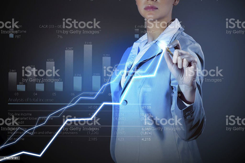 Business woman drowing media graphs royalty-free stock photo
