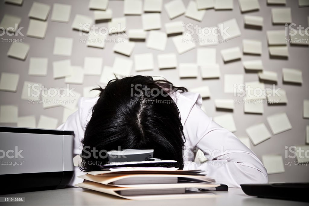 A business woman frustrated with her work royalty-free stock photo