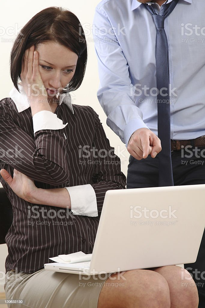 Business Woman get in trouble with man stock photo