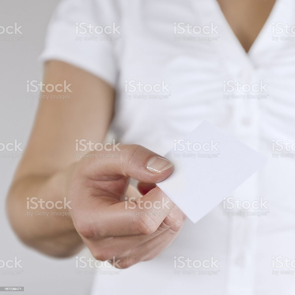 Business Woman Gives Away Card royalty-free stock photo