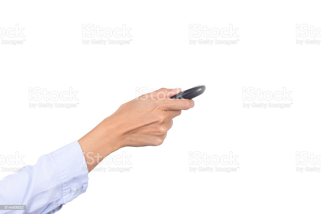 business woman hand holding car keys on white background stock photo