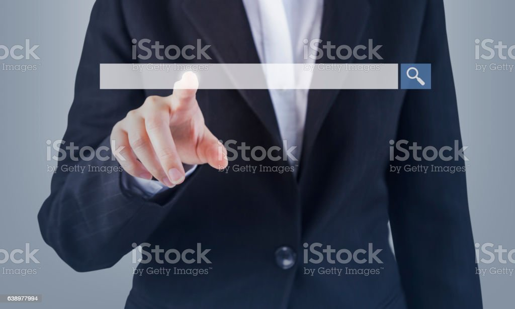 Business woman hand touching blank search bar stock photo