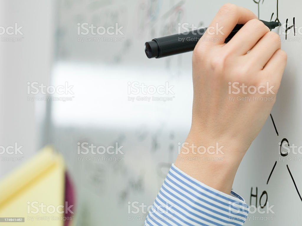 Business woman hand writing as seen from a high angle. royalty-free stock photo