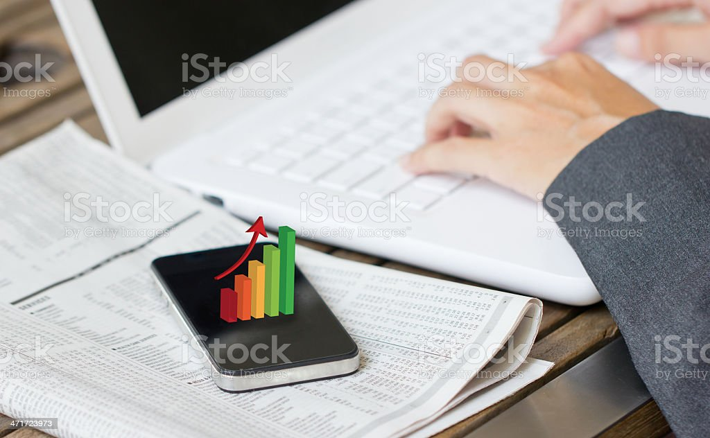 Business woman hands working with laptop. stock photo
