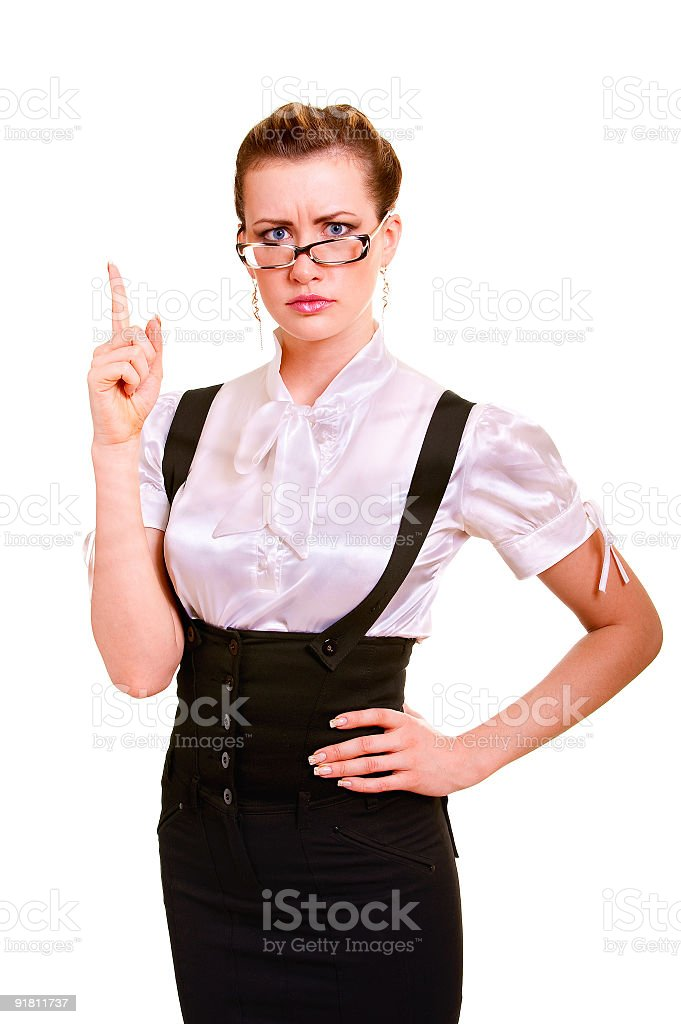 Business woman has lifted hand royalty-free stock photo