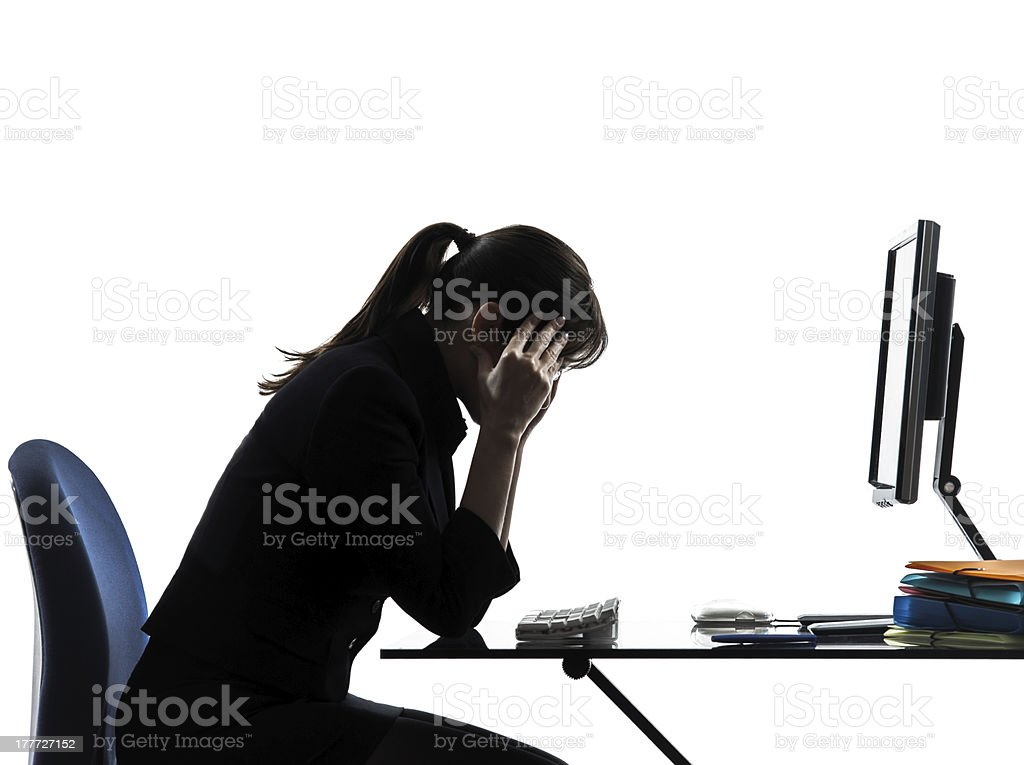 business woman headache tired problems silhouette royalty-free stock photo