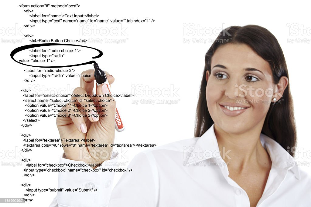 Business woman highlighting webcode royalty-free stock photo