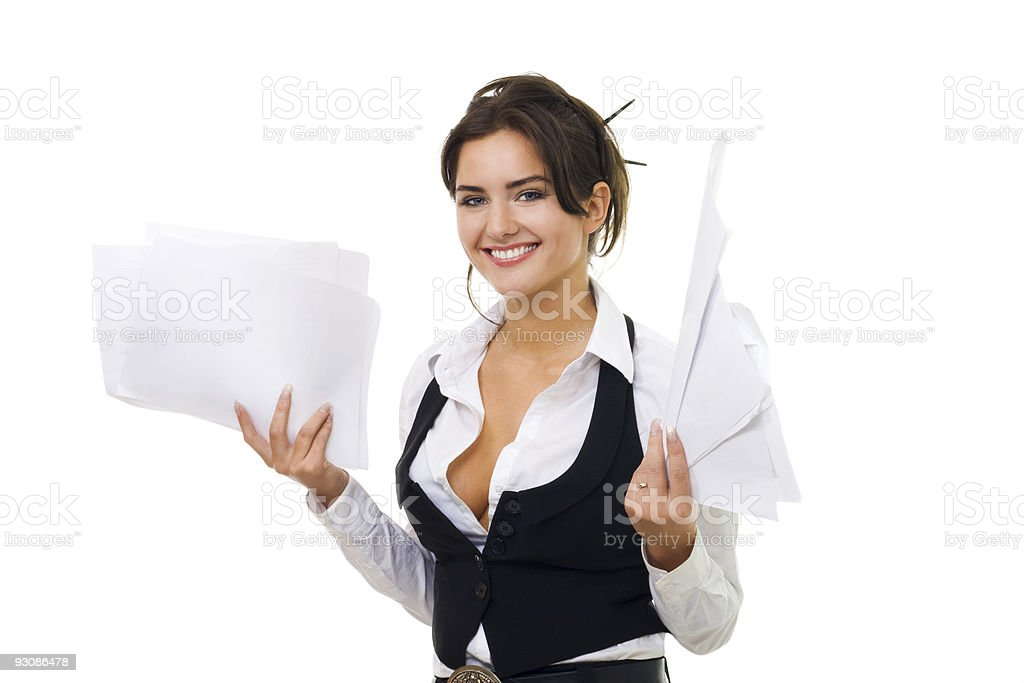 Business woman hold paper and documents, isolated stock photo