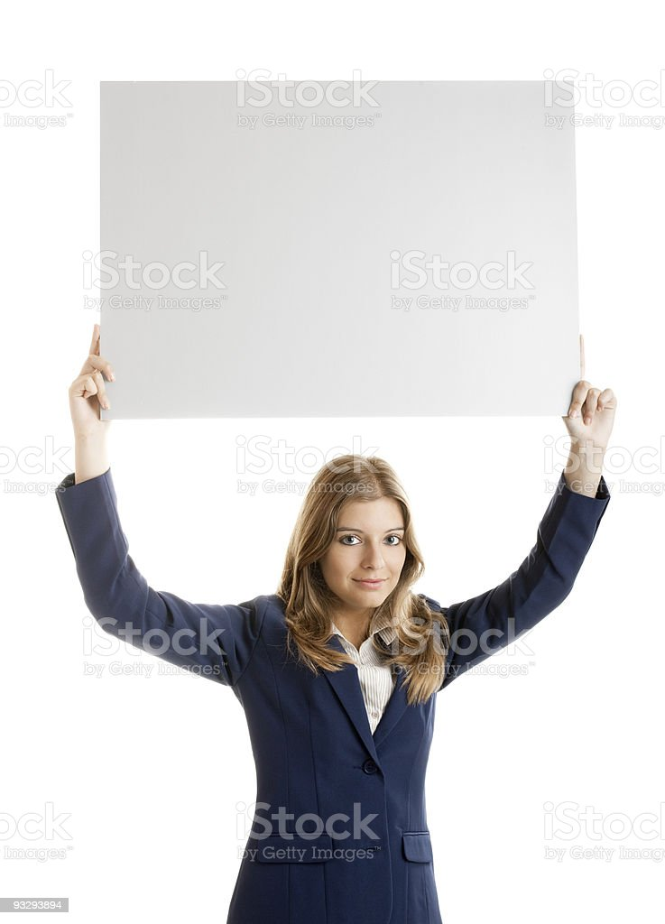 Business Woman holding a billboard royalty-free stock photo
