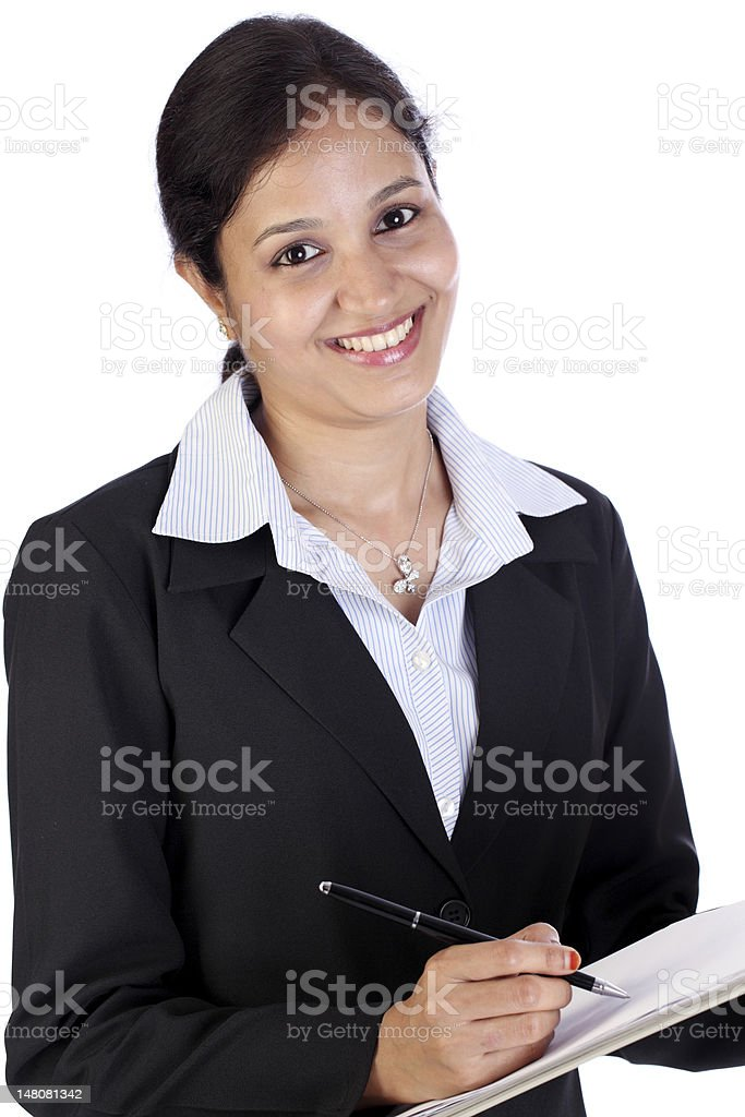 Business woman holding a clipboard royalty-free stock photo