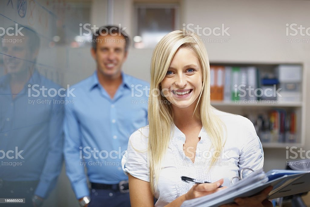 Business woman holding a file folder royalty-free stock photo