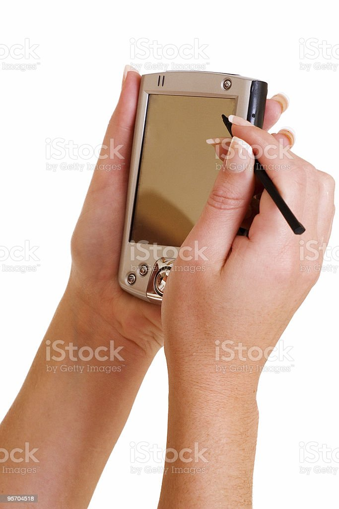 business woman holding a PDA royalty-free stock photo