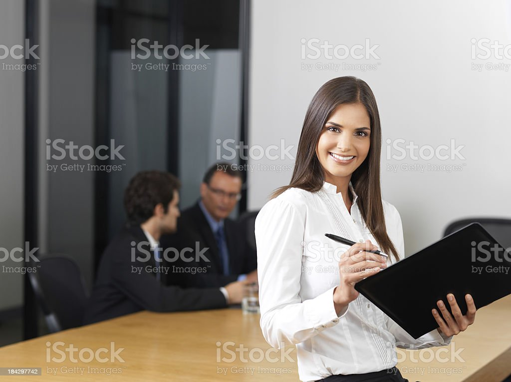 Business woman holding an office file royalty-free stock photo
