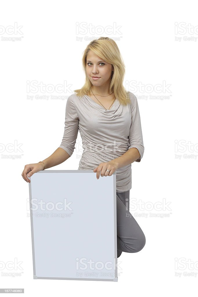 Business woman holding banner royalty-free stock photo