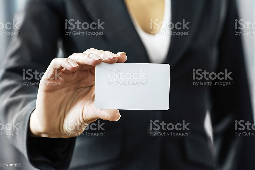 Business woman holding blank card. royalty-free stock photo
