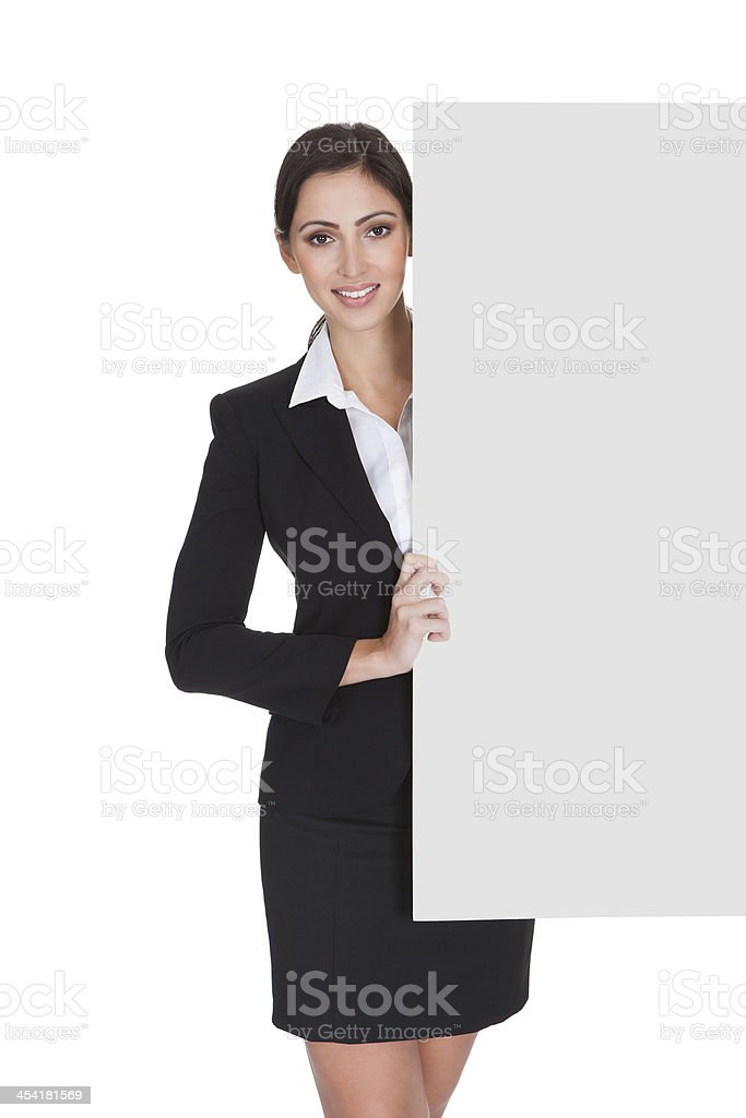 Business Woman Holding Blank Placard royalty-free stock photo