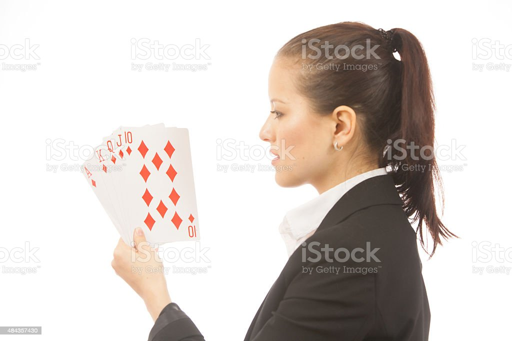 Business Woman Holding Cards stock photo
