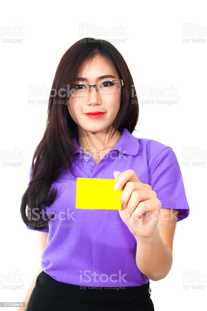 business woman holding credit card isolated on white background stock photo