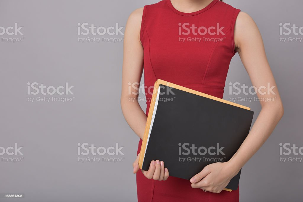 Business woman holding documents royalty-free stock photo