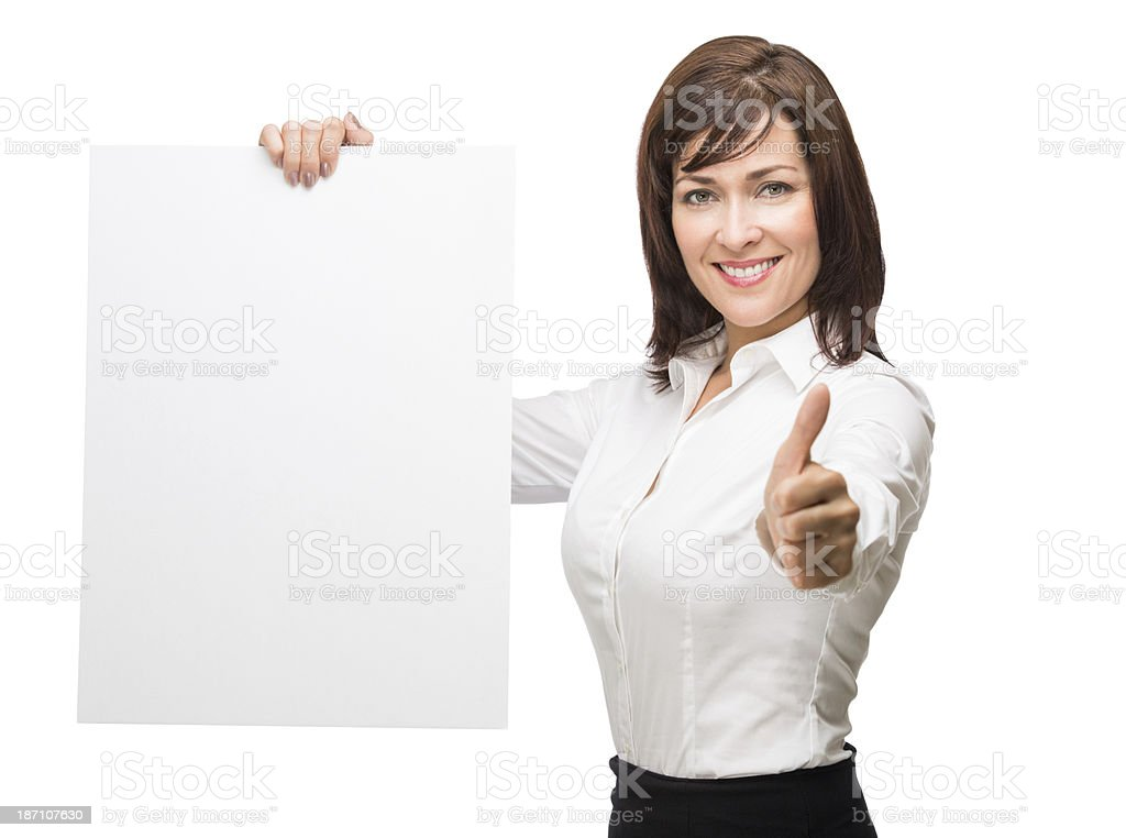Business woman holding empty banner royalty-free stock photo