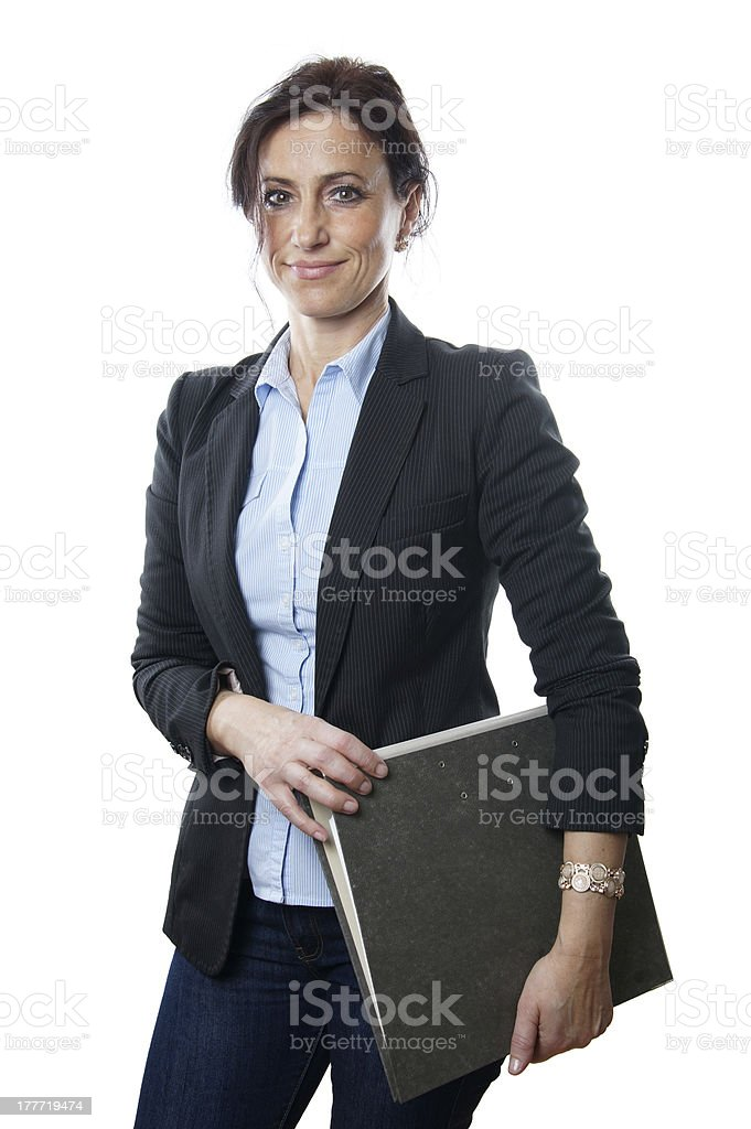 business woman holding file stock photo
