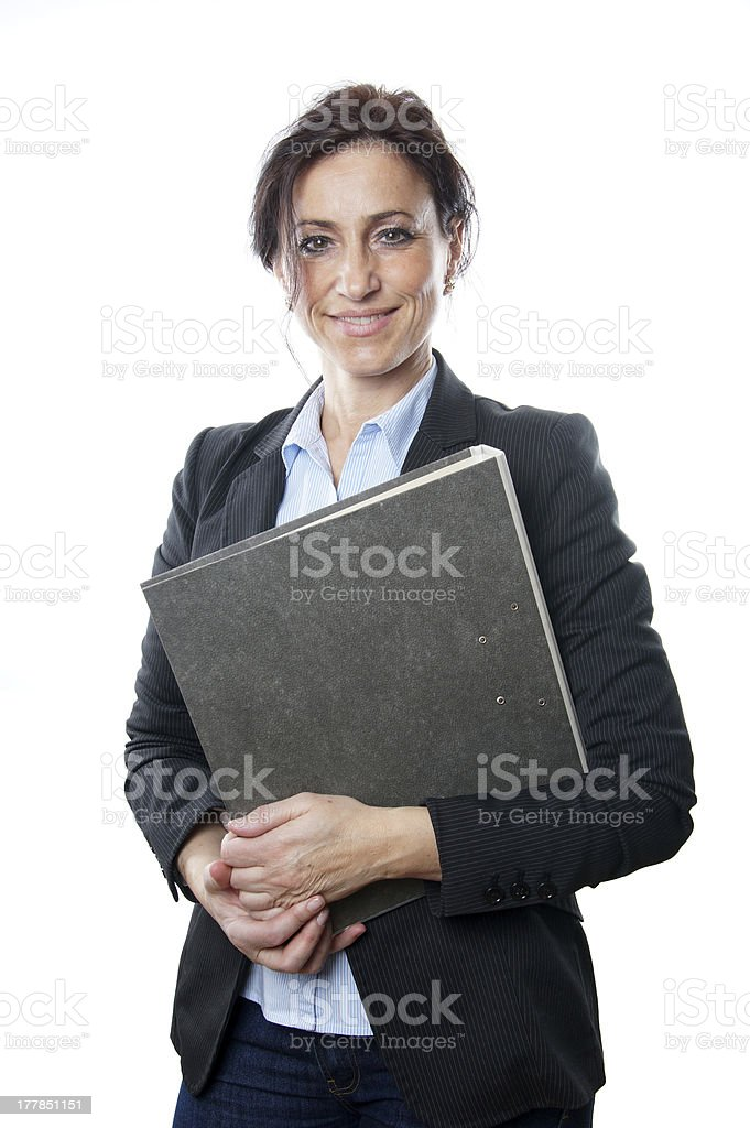 business woman holding file royalty-free stock photo