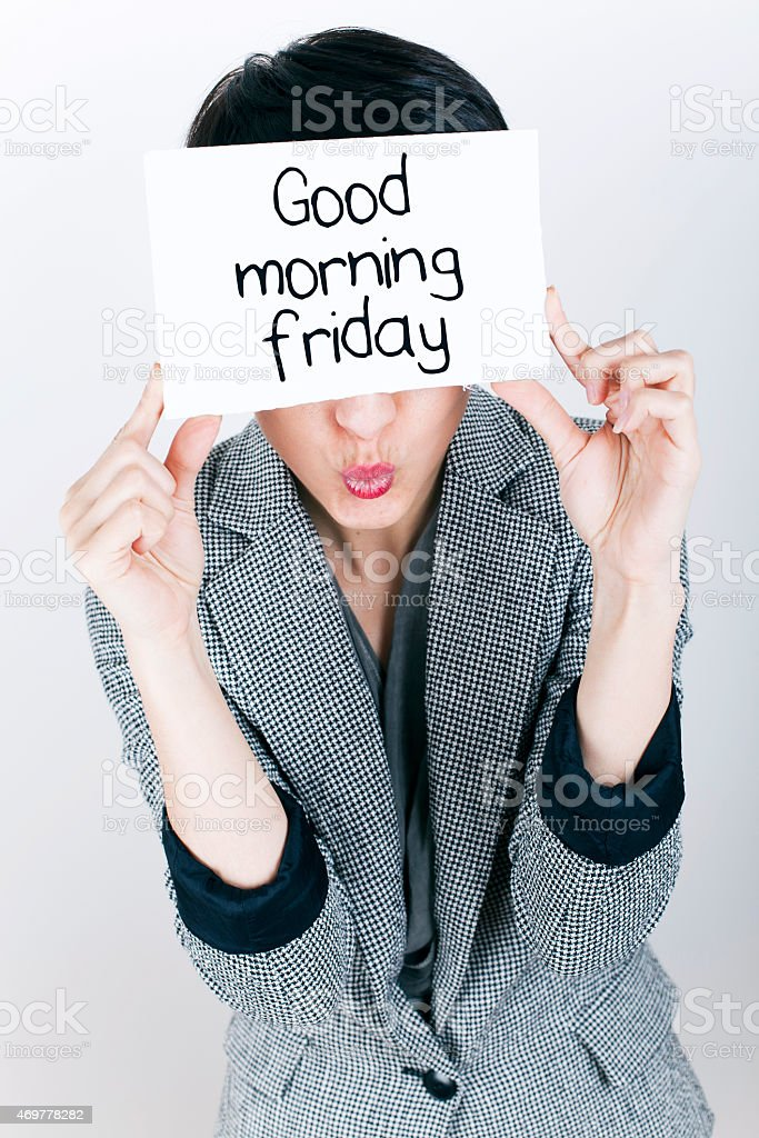 Business Woman Holding Good Morning Friday Note stock photo