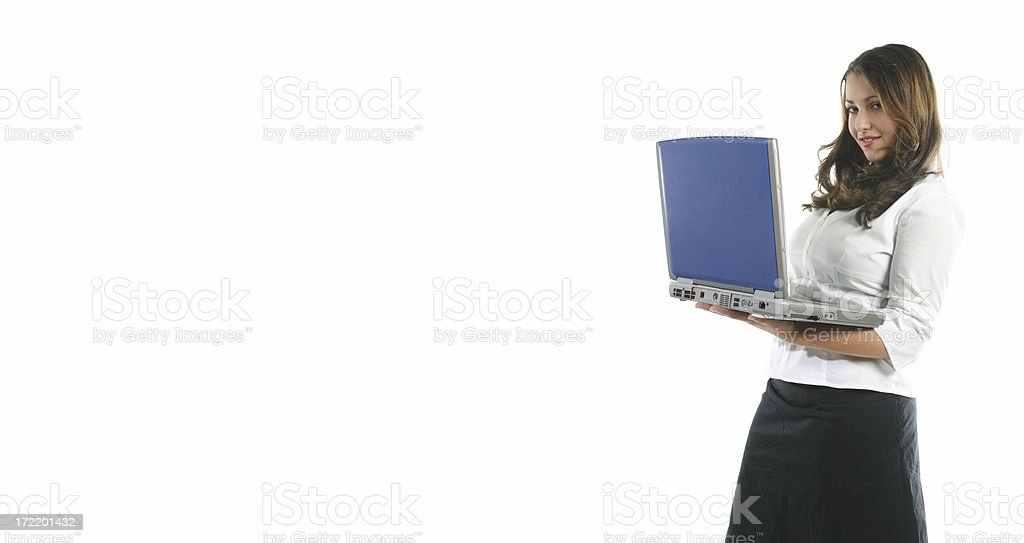 Business woman holding laptop stock photo