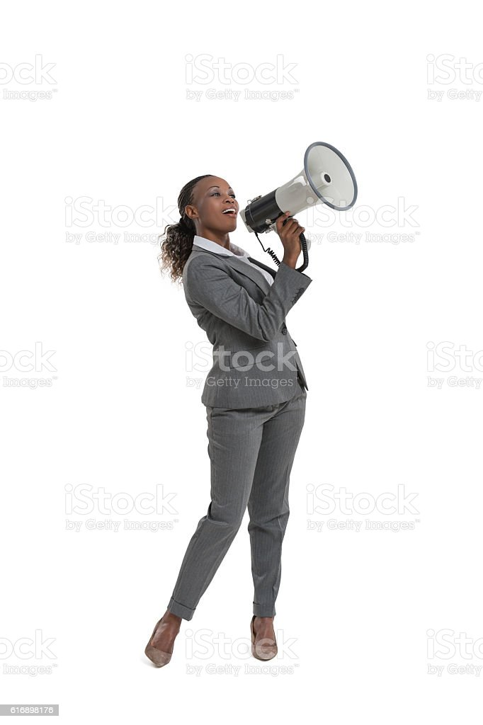 Business woman holding megaphone stock photo