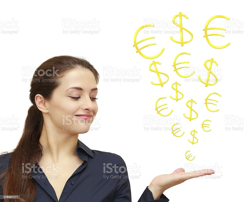 Business woman holding on hand and looking dollar, euro signs royalty-free stock photo