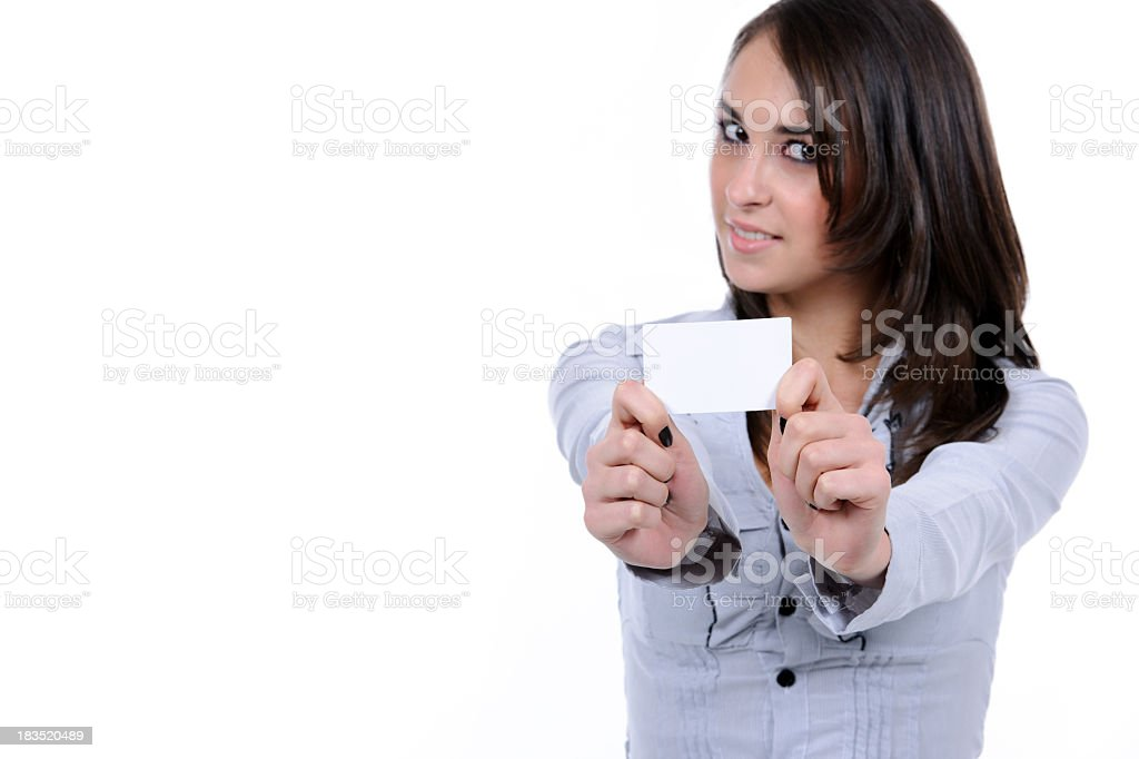 business woman holding post it royalty-free stock photo