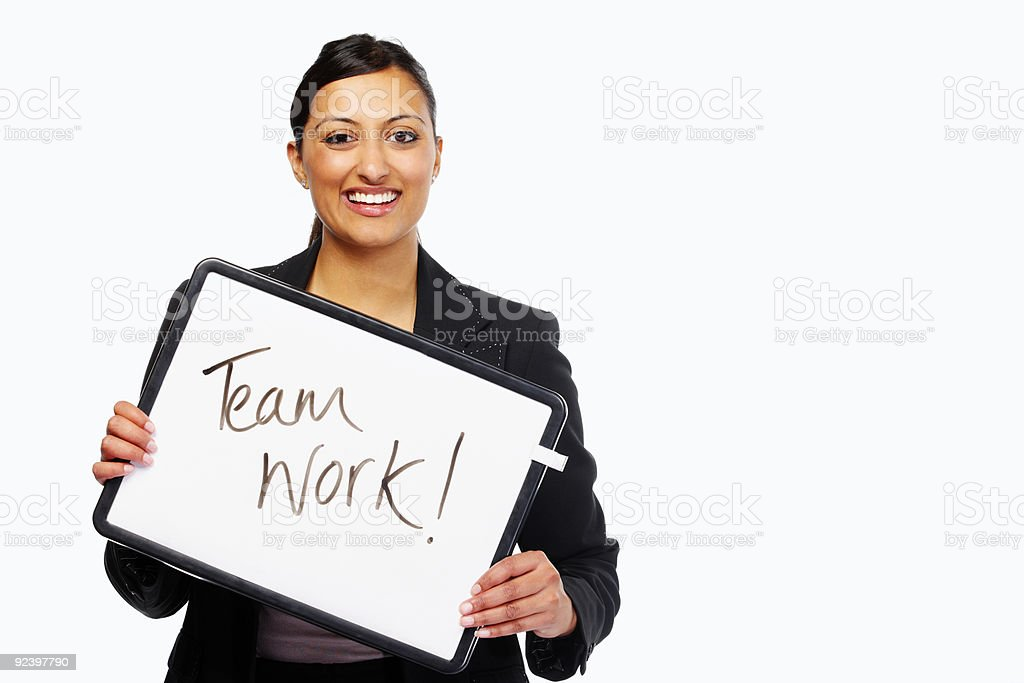 Business woman holding team work sign over white background royalty-free stock photo
